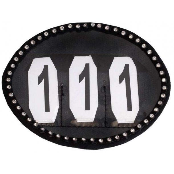 SD® Crystal number holder in black. O-108