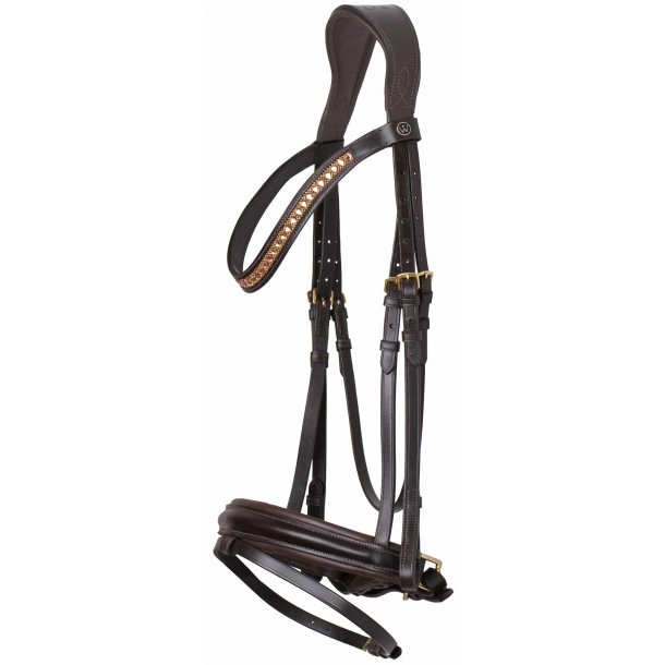 SD® CROWN Azzaro bridle. Brown/Gold R-209