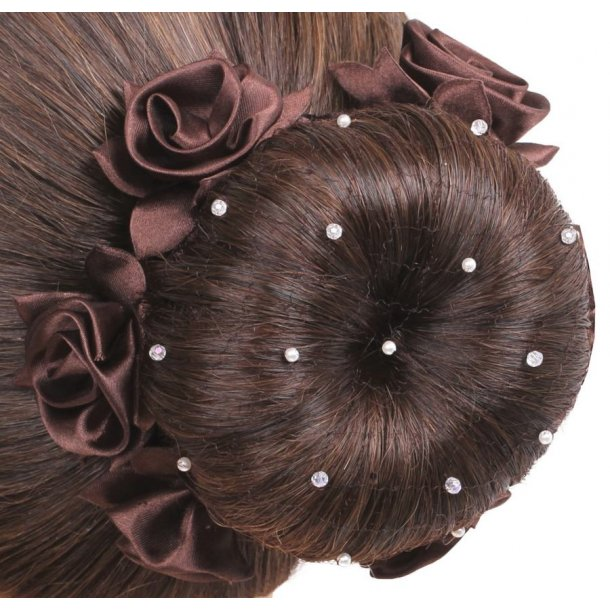 SD® Hairnet with Pearls and Crystal beads. Brown. K-108