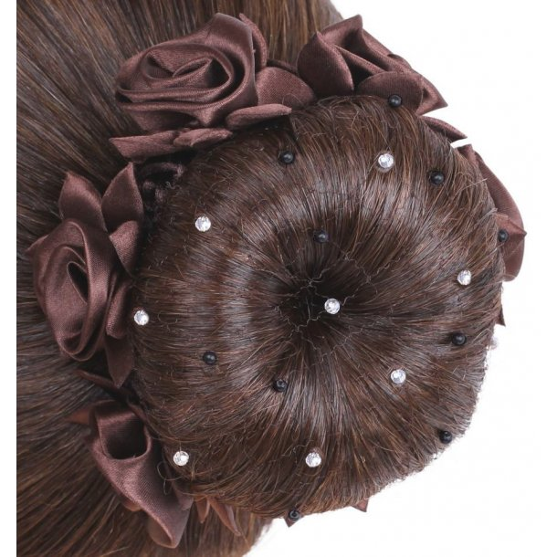 SD® Hairnet with Black Pearls and Crystal beads. Brown. K-110