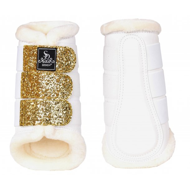 SD® Glitter Dressage Boots in white/gold. O-238