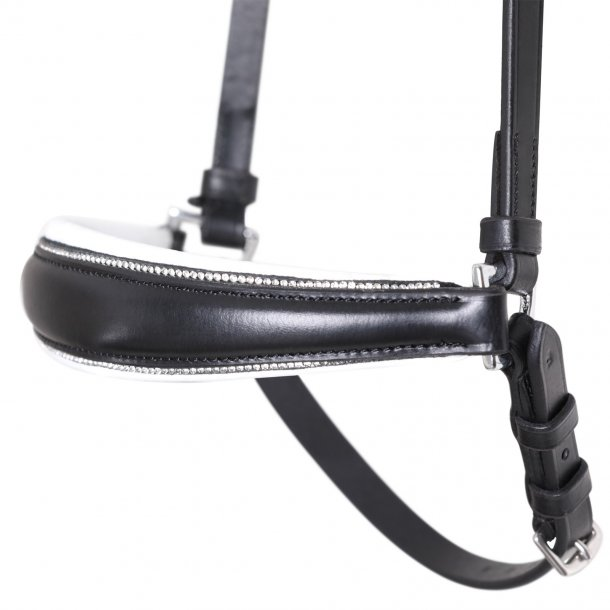 SD® Drop noseband with Crystals black/white. R-491