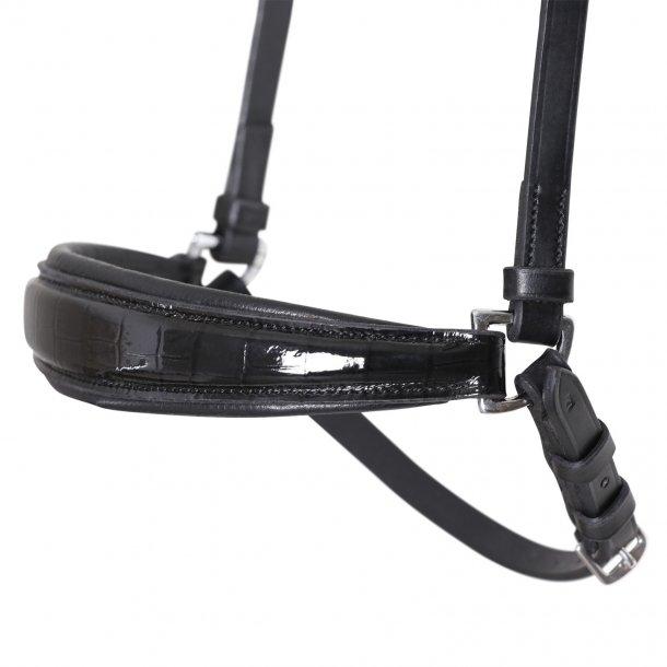 SD® Drop noseband black/black/croco patent. R-667