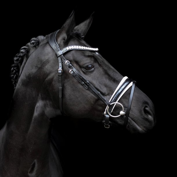 SD® Mystery bridle in Black/White/Glitter patent. Pony R-715