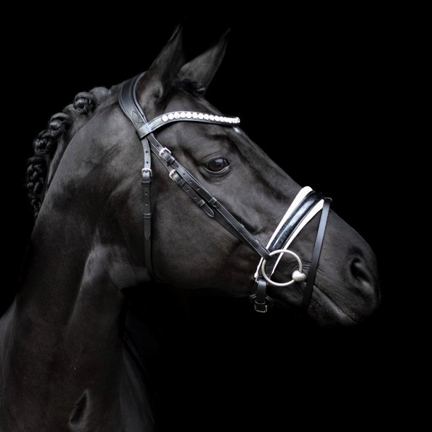 SD® Mystery bridle in Black/White/Glitter patent. R-715