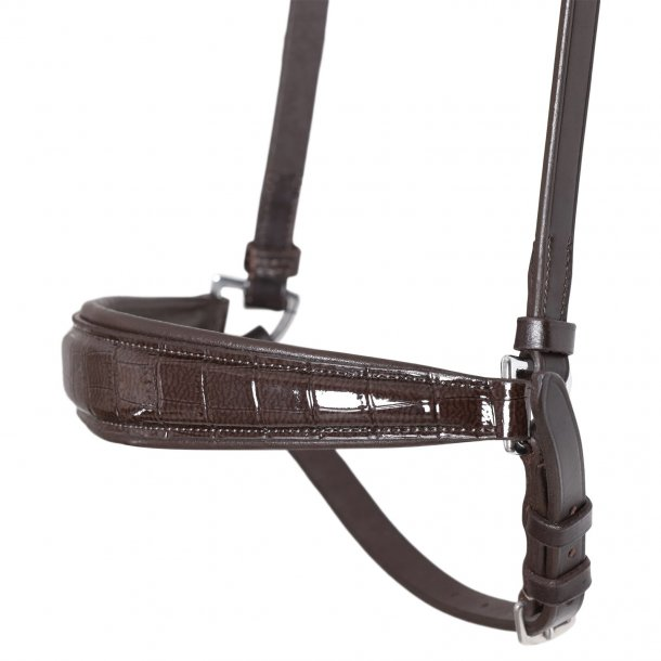 SD® Drop Noseband Brown/Brown/Croco Patent. R-786