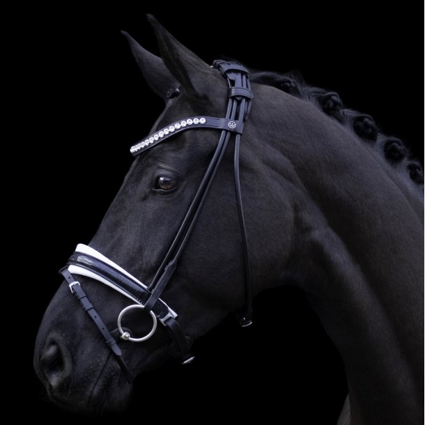 SD® Mystery rolled bridle in Black/White/Glitter patent. Pony R-796