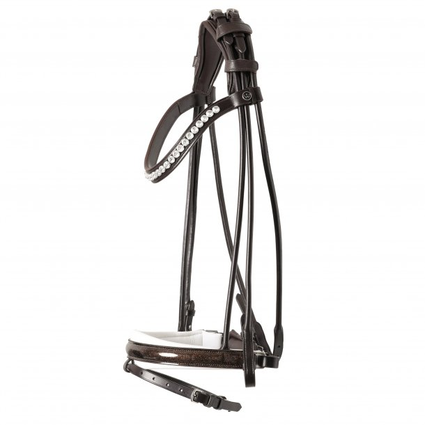 SD® Mystery rolled bridle in Brown/White/Glitter patent. R-798