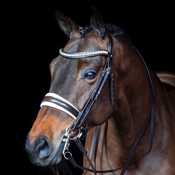SD® Mystery Double bridle in Brown/Whitte/Glitter patent. R-802