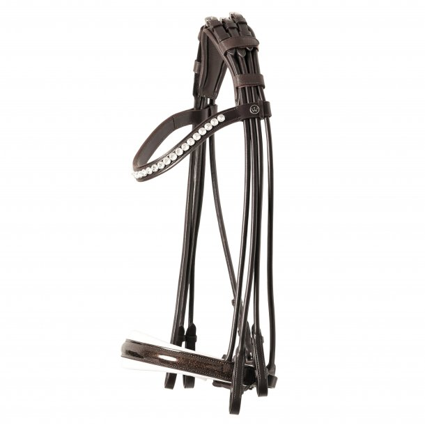 SD® Mystery Rolled Double bridle in Brown/White/Glitter patent. R-806