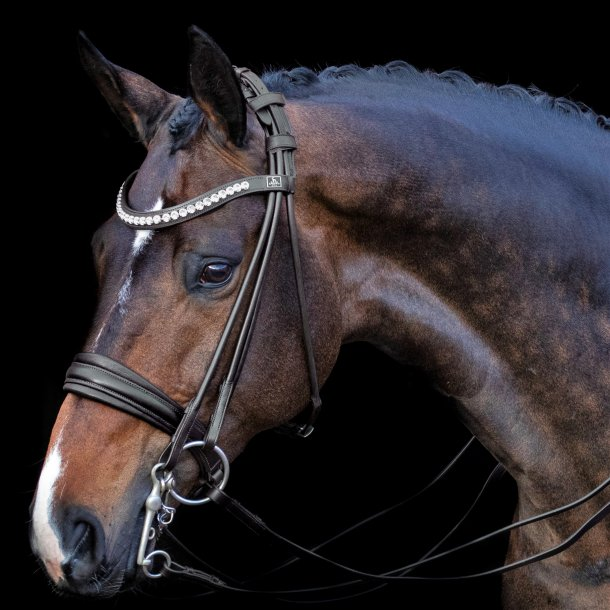 SD® Belissimo rolled double bridle in black/black. Full R-835