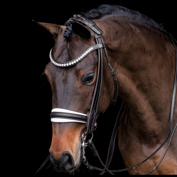 SD® Belissimo rolled double bridle in black/white. R-836