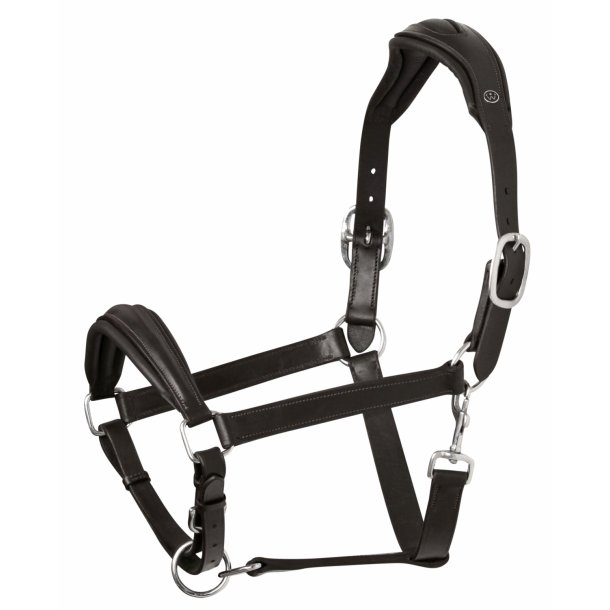 SD® Anatomic Memory foam leather halter in black. U-123