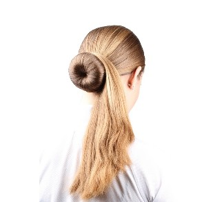 Donut hairstyle with very long hair.